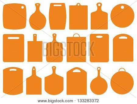 Set of kitchen cutting boards isolated on white
