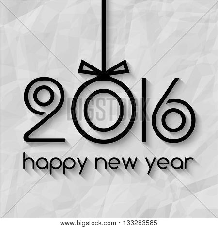Happy New Year 2016 Creative Greeting Card Design with Xmas Tree Ball Concept on Paper Texture. Lettering 2016 design.