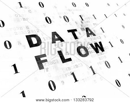 Information concept: Pixelated black text Data Flow on Digital wall background with Binary Code