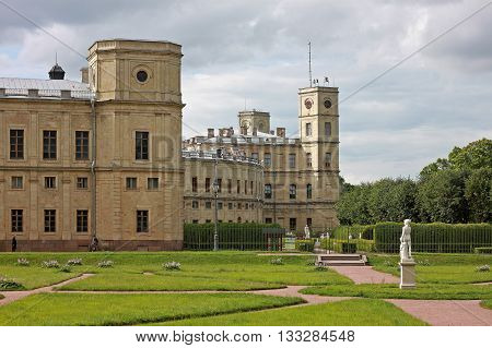 Gatchina Russia - 29 July 2015: The Great Gatchina Palace. The lower Dutch garden and a Private garden