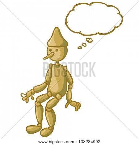 wooden doll with thought bubble cartoon