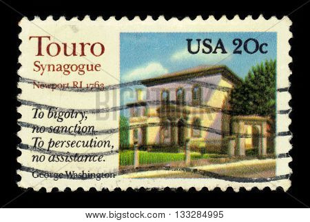 USA - CIRCA 1982: a stamp printed in the USA, shows Touro synagogue in Newport, Rhode Island, circa 1982