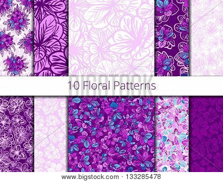 Vector set of seamless patterns with purple flowers. Lilac flower vector patterns set pattern fills web page background surface textures. textile print