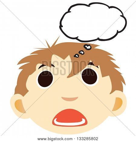 scared boy with thought bubble cartoon