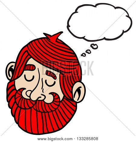 red haired man with beard and thought bubble cartoon
