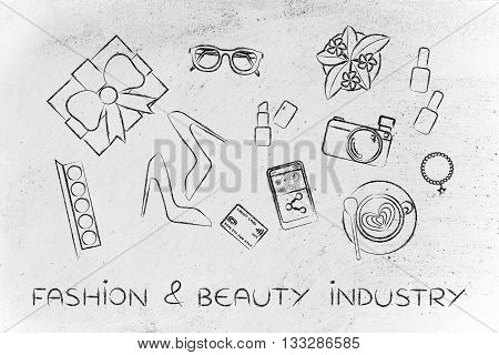 Mixed Glamour Objects On Desk, Fashion & Beauty Industry