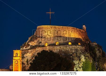 Evening View Of Illuminated  Old Fortress, Corfu I