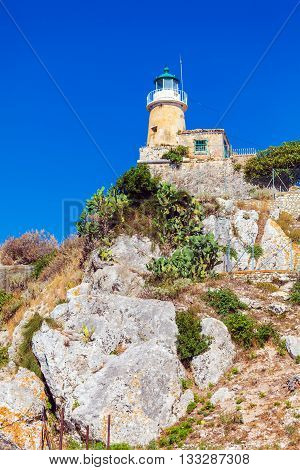 Lighthouse At Old Fortress In Kerkyra, Corfu Island