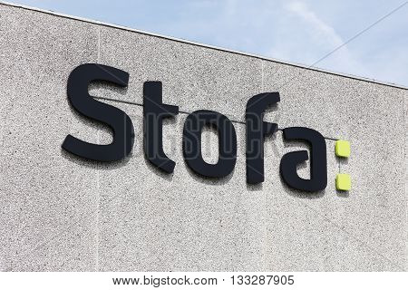 Horsens, Denmark - May 22, 2016: Stofa is a Danish company providing cable TV and internet. On the cable TV market Stofa is the second largest player with about 600 000 customers
