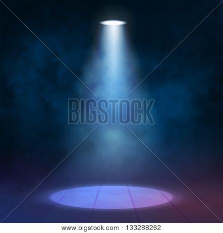 Lantern floodlight spotlight illuminates wooden scene. Vector illustartion