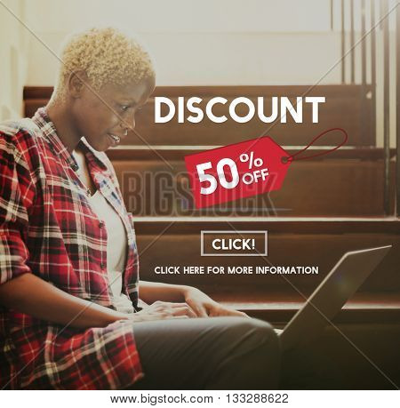 Discount Half Price Marketing Promotion Consumer Concept