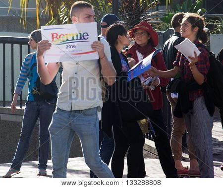 Bernie Sanders supporter campaigns on Castro Street in San Francisco 6/5/16