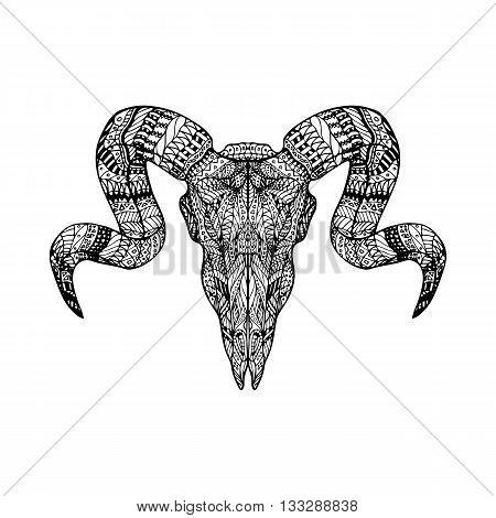 Zentangle Skull Head Of Ram
