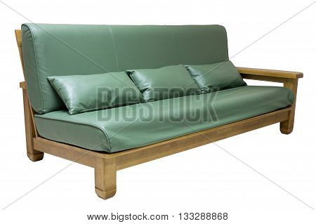 Sofa Furniture With Pillow Isolated On White With Clipping Path