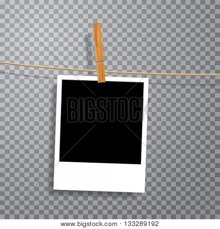 vector vintage blank photo on rope with wooden clip