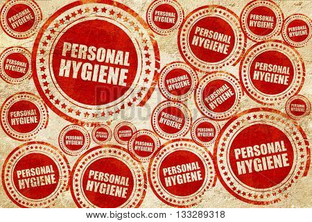 personal hygiene, red stamp on a grunge paper texture