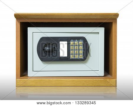 Safety box with electronic lock on white background