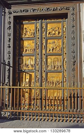 East doors or Gates of Paradise by Lorenzo Ghiberti, Baptistery of St. John, cathedral Santa Maria del Fiore (Duomo), Florence, Tuscany, Italy
