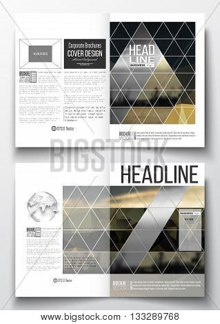 Set of business templates for brochure, magazine, flyer, booklet or annual report. Colorful polygonal background with blurred image, seaport landscape, modern stylish triangular vector texture.