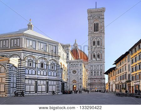 FLORENCE, Italy - January 19, 2016: cathedral Santa Maria del Fiore (Duomo), Giotto's bell tower (campanile) and  Baptistery of St. John from Piazza del Duomo on January 19, 2016 Florence, Tuscany, Italy