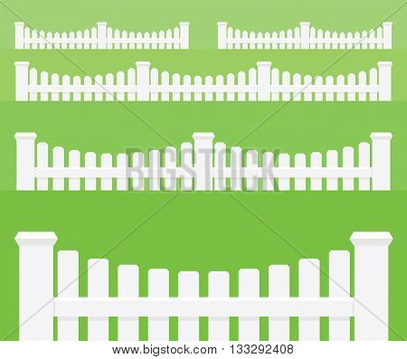 Fences. Set of vector objects on green background