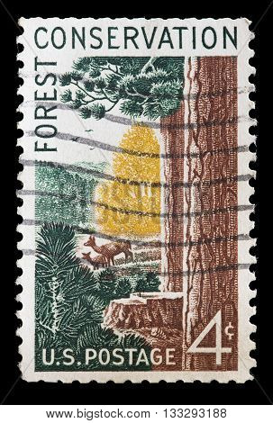 United States Used Postage Stamp Encouraging Conservation Of Forests