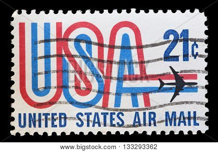 United States Used Postage Stamp Showing Aircraft Over Usa Word