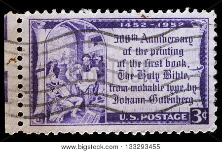 Usa Used Postage Stamp Showing Reproduction Of First Printed Bible