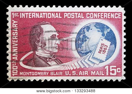 United States Used Postage Stamp Showing Portrait Of Montgomery Blair
