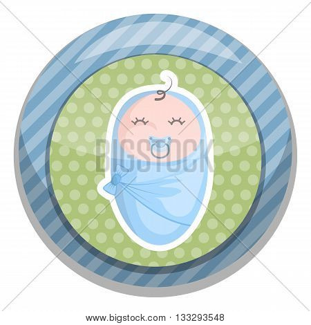Baby boy colorful icon. Vector illustration in cartoon style