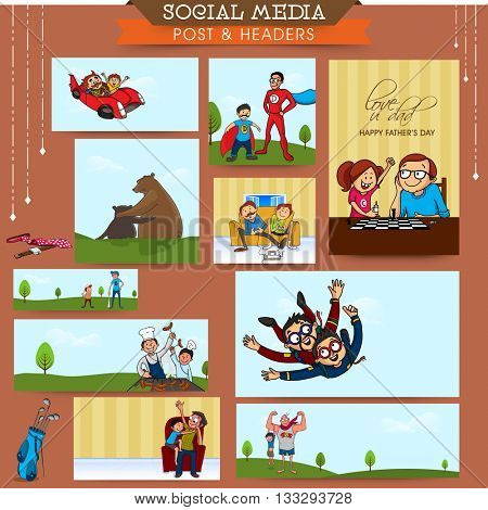 Social Media Post and Header set with cute characters for Happy Father's Day celebration.