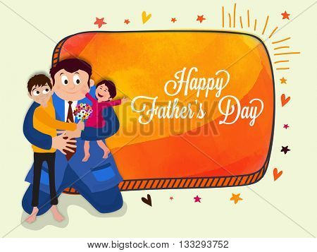 Cute kids loving their father, Elegant greeting card design for Happy Father's Day celebration.