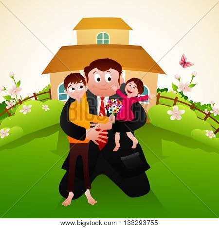 Happy father holding his cute children in front of a beautiful house for Father's Day celebration.
