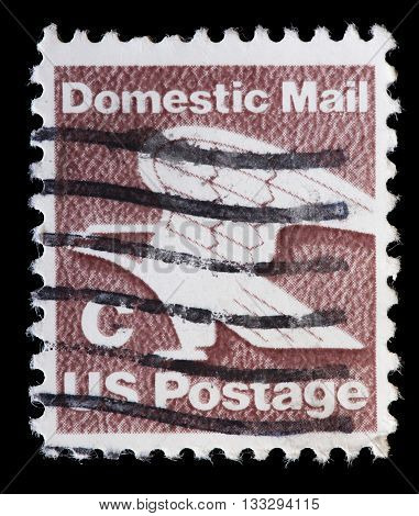 United States Used Postage Stamp Showing Stylized Eagle Domestic Mail