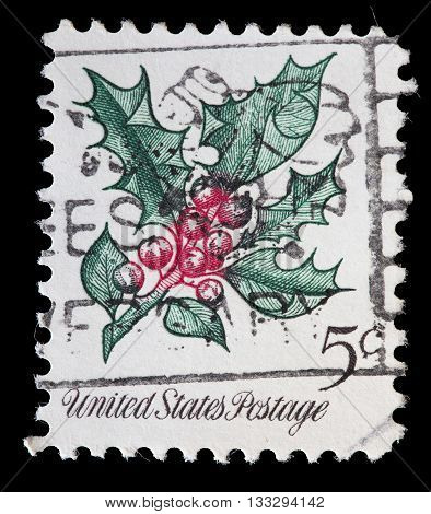 United States Used Postage Stamp Showing Christmas Decorations Plant