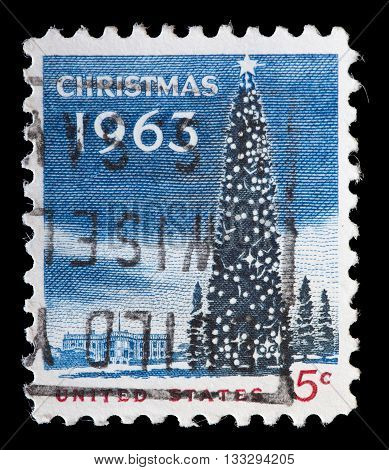 United States Used Postage Stamp Showing A Christmas Tree