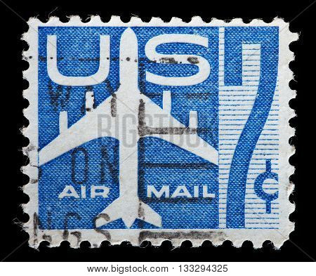 Usa Used Postage Stamp Showing The Silhouette Of A Jet