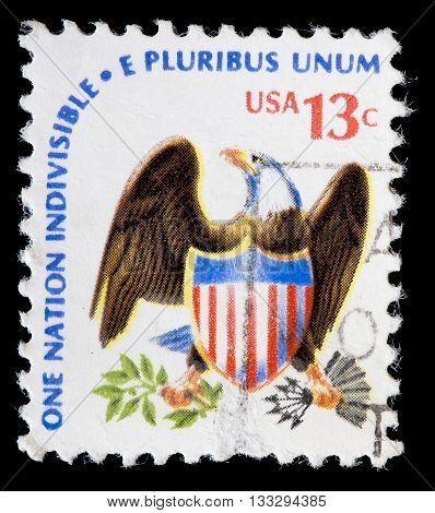 United States Used Postage Stamp Showing Eagle National Emblem