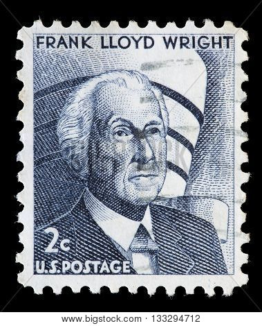 United States Used Postage Stamp Showing Frank Lloyd Wright