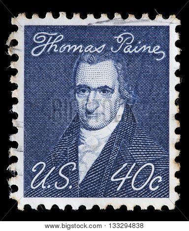 United States Used Postage Stamp Showing Revolutionist Thomas Paine