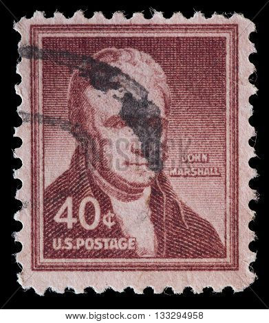 United States Used Postage Stamp Showing Portrait Of John Marshall
