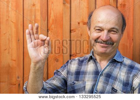 Elderly Man In A Plaid Shirt, Bald, With A Mustache Shows Sign Okay. Approval And Positive Recommend