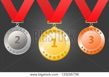 3D rendering of  gold silver bronze medal