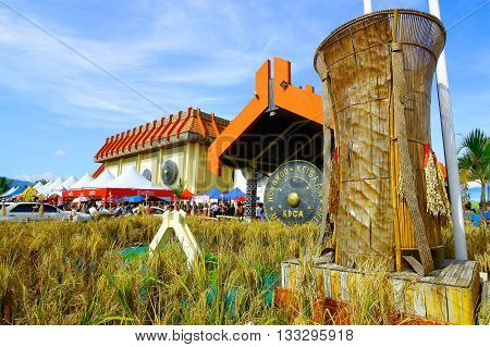 Penampang,Sabah-May 31,2016:A view of Kadazandusun Cultural Association KDCA Hongkod Koisaan,Penampang,Sabah,Borneo during Pesta Kaamatan.Pesta Kaamatan is a Harvest Festival celebrated yearly.