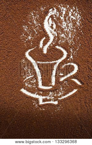 Cup of coffee drawing coffee ground background