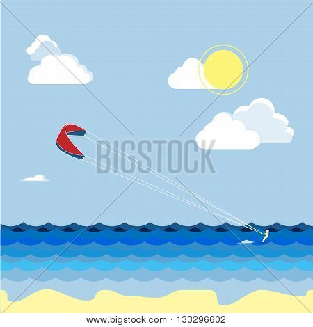 Summer kitesurfing sport. Man skiers on the water summer vacation. Vector work flat