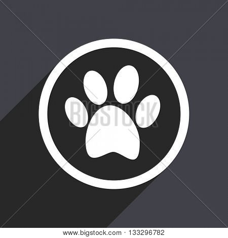 foot icon, gray vector flat design internet button, web and mobile app illustration