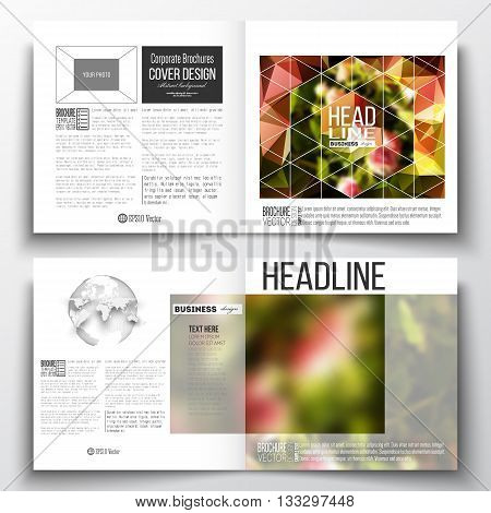Set of annual report business templates for brochure, magazine, flyer or booklet. Colorful polygonal floral background, blurred image, pink flowers on green, modern triangular texture.