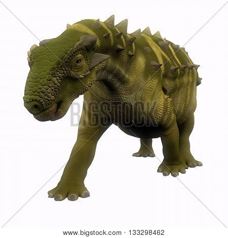 Talarurus Dinosaur on White 3D Illustration - Talarurus was a herbivorous armored dinosaur that lived in the Cretaceous Period of Mongolia.