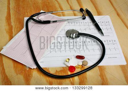 Stethoscope, Cardiogram And Pills